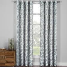 Curtain Panels Catalina Leaf Swirl Jacquard Curtain Panels Grommet Top Set Of 2
