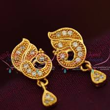 peacock design earrings in gold e7719 white peacock traditional design jewellery screwback south