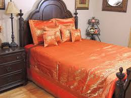 Brocade Duvet Cover Orange Indian Inspired Peacock Bedding Gold Brocade Quilted
