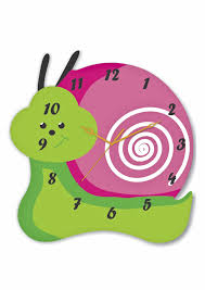 wall clock for kids room with snail shape has a green color on the
