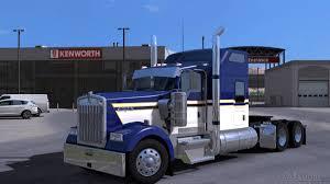 kenworth w900 blue yellow white skin american truck simulator