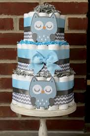 3 tier blue and gray owl diaper cake blue gray owl baby