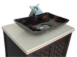 laminate bathroom countertop and unique glass vessel sink also