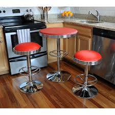 Retro Style Kitchen Table Amerihome Vintage Style Soda Shop 37 In Adjustable Height Chrome