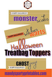 free printable halloween treat bag labels halloween treat bag toppers via mandy u0027s party printables mandy u0027s