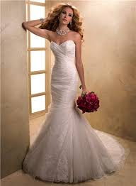 mermaid sweetheart lace tulle wedding dress with fishtail corset back