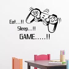 Eat Sleep Game Vinyl Wall Art Stickers Gamer Xbox Ps Boys Bedroom - Home decor wall art stickers