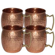 copper hammered moscow mule mug 18 oz set of 4 100 pure