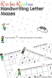 r is for rainbow handwriting letter mazes printable simple fun