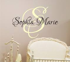 Nursery Wall Decals For Girls by Baby Girl Nursery Wall Decal Monogram Name Vinyl Lettering