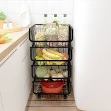 vegetable storage kitchen cabinets 4 5 tiers stackble vegetable fruit food storage rack kitchen