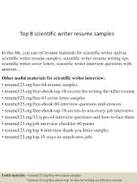 writer resume examples top8scientificwriterresumesamples 150529092204 lva1 app6891 thumbnail 4 jpg cb 1432891835