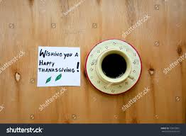 cup coffee wishing you happy thanksgiving stock photo 733072801