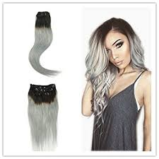 silver hair extensions alizee 14 clip in human hair extensions pack 1b grey