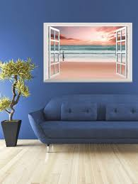 Wall Sticker Warehouse 2018 Removable 3d Seaside Sunset Fake Window Wall Sticker Pink Cm In