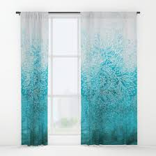 Teal Curtains Fade To Teal Watercolor Doodle Window Curtains By Micklyn