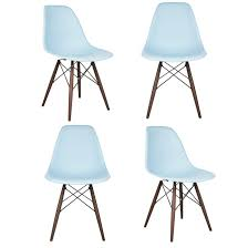 set of 4 eames style dsw molded light blue plastic dining shell