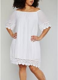 plus size off the shoulder peasant dress with crochet trim rainbow