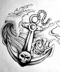 roses skull anchor ship tattoo stencil in 2017 real photo