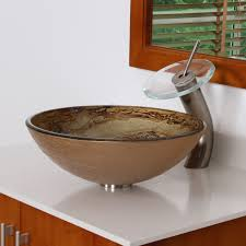 Bathroom Sink Stone 7003 Elite Modern Design Tempered Glass Bathroom Vessel Sink