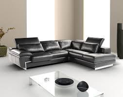 black full leather modern sectional sofa w adjustable headrest