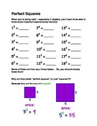 perfect squares and cubes worksheet introduction to exponents tpt