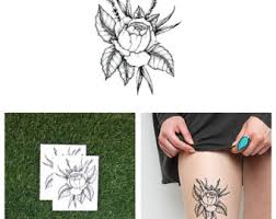 twin rose temporary tattoo set of 2