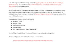 100 sample manuscript cover letter 100 cover letter to