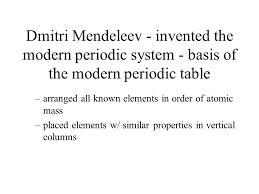 Who Invented Periodic Table Psc Chap 4 The Periodic Table In Modern Periodic Table Elements