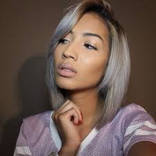 gray hair pieces for american stock straight ombre black to silver gray short bob wig two tone