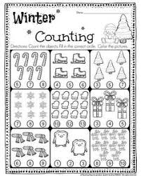 kindergarten math and literacy worksheets for december winter