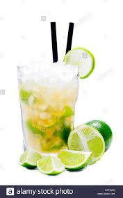 mojito cocktail mix caipirinha cocktail drink with limes isolated on a white