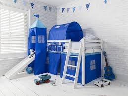 Bunk Bed With Slide And Tent Cabin Bed Midsleeper Bunk Bed With Slide Blue Tent Tower