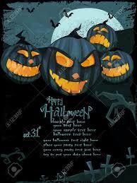halloween template with night landscape evil pumpkins spooky