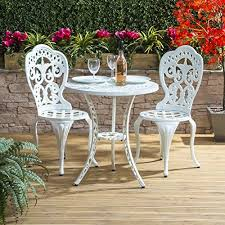 white metal garden furniture set amazon co uk