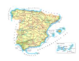 The Map Of Spain by Detailed Elevation Map Of Spain With Roads Major Cities And