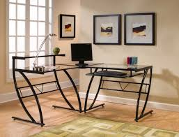 Glass Corner Desks Modern Corner Desks For Home Office With Glass Top And Metal Legs