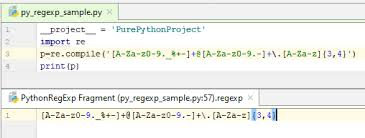 tutorial python regex regular expression syntax reference help pycharm