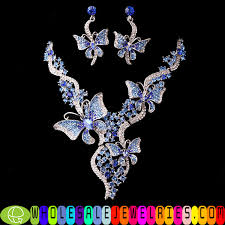 diamond necklace earring set images Butterfly ladies jewelry sets jpg