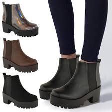 female biker boots ladies womens chunky cleated platform sole block heel chelsea
