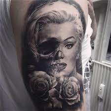 marilyn monroe half skull tattoo pictures to pin on pinterest