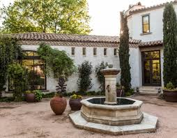 Spanish Home Plans Traditional Water Fountain Using Clay Vases For Elegant Spanish