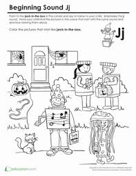 beginning sounds coloring sounds like jack in the box worksheet
