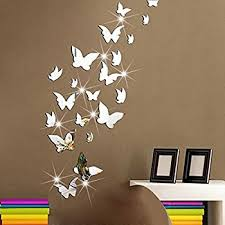 mirror decals home decor amaonm 21 pcs removable crystal acrylic mirror butterfly wall