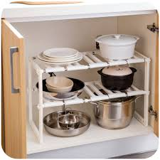 easy home expandable under sink shelf kilimall multi functional extendable 2 tier under sink shelf
