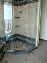 unique tile corner shower ideas with deco band and shampoo shelf