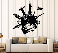 wall vinyl decal satue of liberty eiffel tower famous places world
