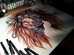 draw steampunk lion step step 12 pics