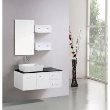 White Bathroom Wall Cabinet Storage Minimalist Home Interior Design Corner Sound System Black