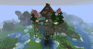 mystical zen house floating minecraft project